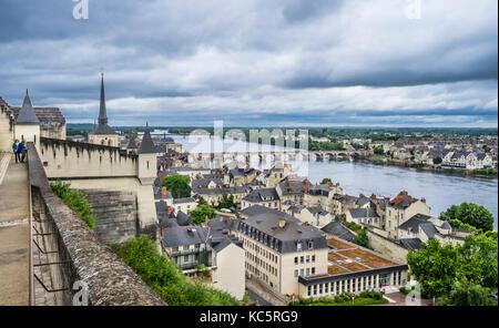 France, Maine-et-Loire department, Pays de la Loire, view of Saumur, Saint-Pierre-du-Marais Church, the Loire river - Stock Photo