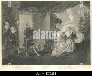 Olivia's House - Olivia, Maria and Malvolio (Shakespeare, Twelfth Night, Act 3, Scene 4), After Johann Heinrich - Stock Photo