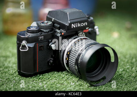 Nikon F3 single lens reflex 35mm professional film camera, First launched in 1980 and remained in production until 2001.