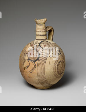 Terracotta jug, Cypro-Archaic I, 750–600 B.C., Cypriot, Terracotta, H. 10 3/8 in. (26.4 cm), Vases, Vertical-circle - Stock Photo
