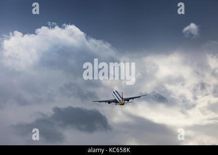 Monarch Airlines Airbus A321 G-MARA taking off on August 18 2017 at London Luton Airport, Bedfordshire, UK - Stock Photo