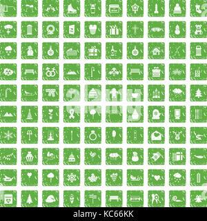 100 winter holidays icons set grunge green - Stock Photo