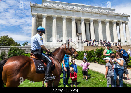 Washington DC District of Columbia National Mall Lincoln Memorial monument Park Police Horse Mounted Unit boy family - Stock Photo