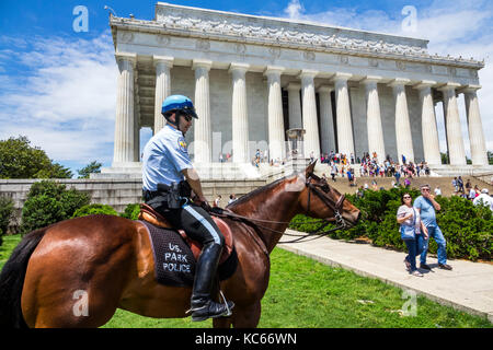 Washington DC District of Columbia National Mall Lincoln Memorial monument Park Police Horse Mounted Unit - Stock Photo