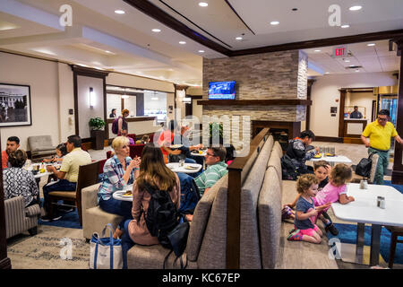 Washington DC District of Columbia Homewood Suites by Hilton hotel dining room free breakfast buffet guests - Stock Photo