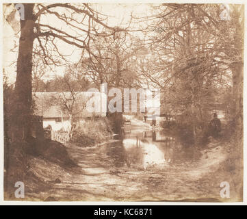 View of a House in the Woods, with a Waterlogged Road, John Dillwyn Llewelyn, 1853–56 - Stock Photo