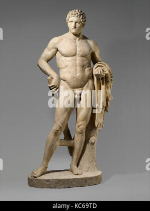 Marble statue of a youthful Hercules, Early Imperial, Flavian, 69–96 A.D., Roman, Marble, Island ?, H. 97 3/16 in. - Stock Photo