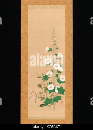 Hollyhocks, Edo period (1615–1868), 19th century, Japan, Hanging scroll; ink and color on silk, Image: 40 1/2 in. - Stock Photo
