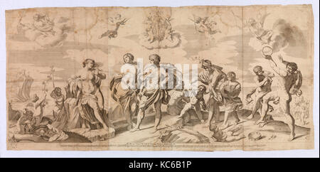 Drawings and Prints, Print, Bacchus with his companions discovering Ariadne on the island of Naxos, after Reni, - Stock Photo