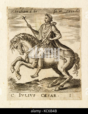 Drawings and Prints, Print, C. Julius Caesar from Twelve Caesars on Horseback, Artist, Abraham de Bruyn, Flemish, - Stock Photo