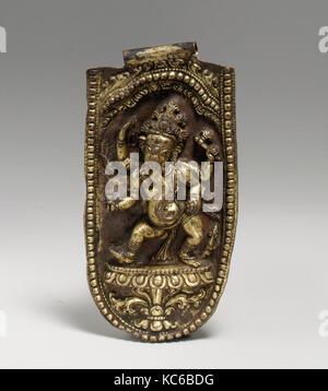 Four-Armed Ganesha Dancing, 16th–17th century, Nepal (Kathmandu Valley), Gilt-copper alloy, H. 6 7/16 (16.4 cm); - Stock Photo