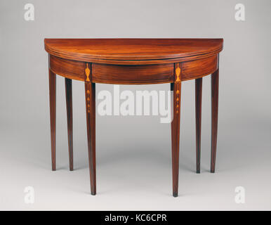Card Table, 1790–1804, Made in Newport, Rhode Island, United States, American, Mahogany, satinwood, ivory, tulip - Stock Photo
