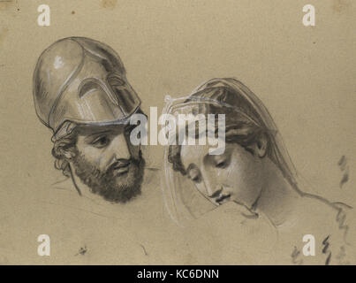 Heads Studies for 'Castor and Pollux Freeing Helen', Joseph-Ferdinand Lancrenon, 1817 - Stock Photo
