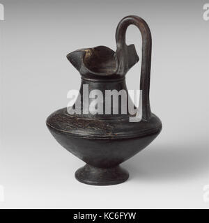 Terracotta oinochoe (jug), Archaic, 6th century B.C., Etruscan, Terracotta, H.: 8 11/16 in. (22.1 cm), Vases, The - Stock Photo