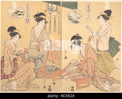 """Eight Parodied Scenes from The Tale of Genji: Chapter 41, """"The Wizard (Maboroshi),"""" and Chapter 19, """"A Rack of Cloud - Stock Photo"""
