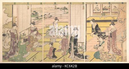 和歌三神図, Honoring the Three Gods of Poetry: Women Composing Poems, Chōbunsai Eishi, ca. 1792 - Stock Photo