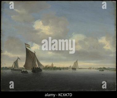 Marine, 1650, Oil on wood, 13 5/8 x 17 1/8 in. (34.6 x 43.5 cm), Paintings, Salomon van Ruysdael (Dutch, Naarden, - Stock Photo