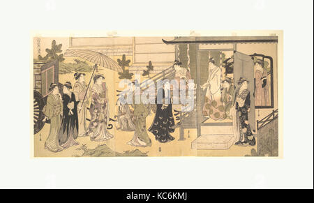 "A Disguised Scene from The Tale of Genji (Fūryū Yatsushi Genji), Chapter 33, ""Wisteria Leaves (Fuji no uraba)"", - Stock Photo"