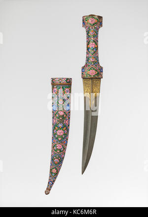 Dagger with Sheath, late 18th–early 19th century, Iranian, Steel, copper alloy, enamel, gold, glass, L. 17 1/16 - Stock Photo