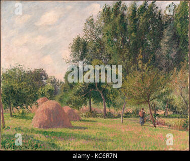 Haystacks, Morning, Éragny, 1899, Oil on canvas, 25 x 31 1/2 in. (63.5 x 80 cm), Paintings, Camille Pissarro (French, - Stock Photo