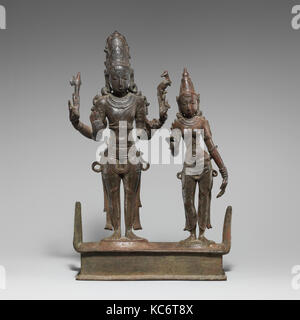 Standing Shiva and Parvati, Chola period (880–1279), 13th century, India, Copper alloy, H. 12 3/8 in. (31.4 cm); - Stock Photo