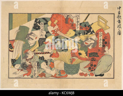 The Advent of a Demon; Scene from a Performance in an old Kabuki Theatre, Unidentified Artist - Stock Photo