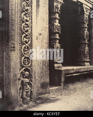 Pillars in the Recessed Portico in the Roya Gopuram with the Base of One of the Four Sculptured Monoliths, Madura - Stock Photo
