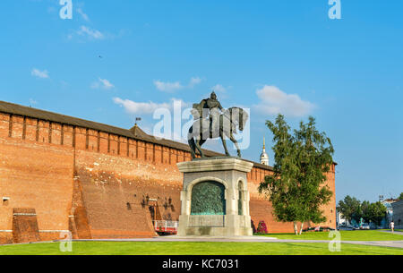 Equestrian monument to Dmitry Donskoy in Kolomna, Moscow Region, Russia - Stock Photo