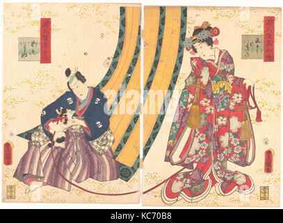 The Third Princess and Kashiwagi, from the Tale of Genji (Genji monogatari), Utagawa Kunisada, 1858 - Stock Photo