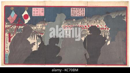 米国グラント氏御通行之繁栄, Splendor of the Procession of General Grant from America (Beikoku Guranto-shi go tsūkō no han'ei), - Stock Photo