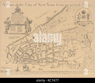 A Plan of the City of New York from an Actual Survey Made by James Lyne, 1728, After James Lyne, 1834–72 - Stock Photo