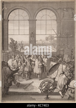 Louis XIV Visiting the Royal Academy of Sciences, Sébastien Leclerc I, 1671 - Stock Photo