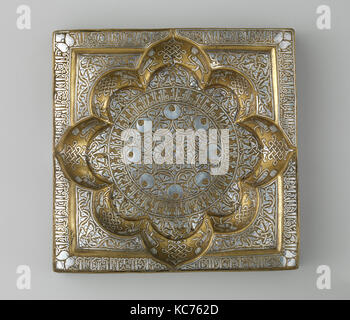Square Tray with Recessed Medallion, early 13th century - Stock Photo