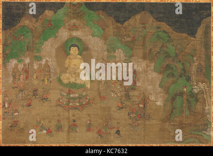 仏伝図 頻毘沙羅王帰依, Life of the Buddha: King Bimbisara's Conversion, early 15th century - Stock Photo