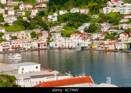 Overview above St. George's Harbor surrouned by colorful buildings, Grenada - Stock Photo