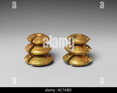 Pair of Weighted Fasteners, Central Javanese period, 8th–early 10th century, Indonesia (Java), Gold, Overall (each): - Stock Photo