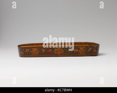 Pen Box with Architectural Cartouches, Ali Ashraf, dated A.H. 1156/ A.D. 1743 - Stock Photo