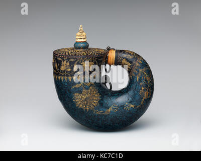 Powder Flask, 17th century, Indian, possibly Deccan, Horn, lacquer, ivory, bone, gold, silver, copper alloy, iron, - Stock Photo