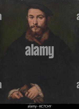 Portrait of a Man with Gloves, Corneille de Lyon, ca. 1535 - Stock Photo