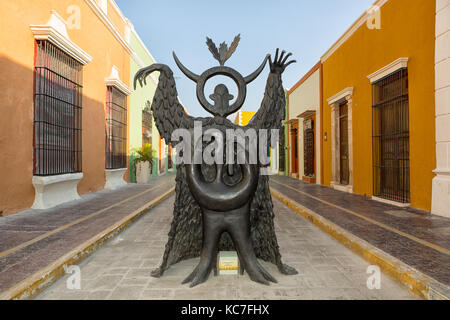 April 19, 204 Campeche, Mexico: Leonora Carrington statues exhibited on the streets of the UNESCO world Heritage - Stock Photo