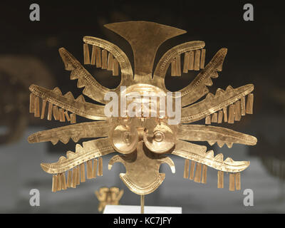 Headdress Ornament, 1st–7th century, Colombia, Calima (Yotoco), Gold, H. 8 5/8 in. (21.9 cm), Metal-Ornaments, Five - Stock Photo