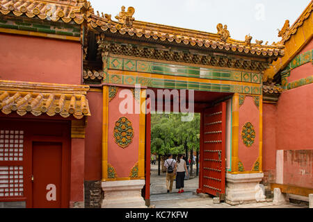 Gate to the Imperial Garden in Forbidden City, Beijing, China - Stock Photo