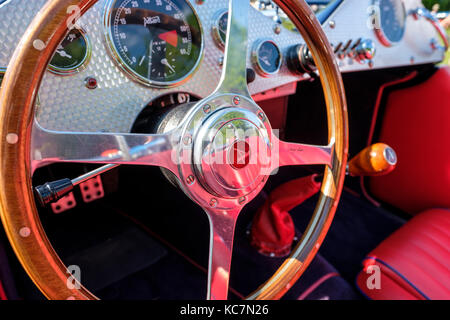 Steering wheel, dashboard, and gear shifter of Allard J2X MK II, modern version of the 1950s British competition - Stock Photo