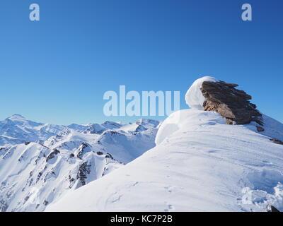 Mountains Above Cugnai lift, looking towards Col de la Calabourdane, Val-d'Isere, Espace Killy, France - Stock Photo