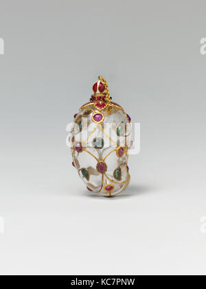 Mango-Shaped Flask, mid-17th century, Attributed to India, Rock crystal; set with gold, enamel, rubies, and emeralds, - Stock Photo