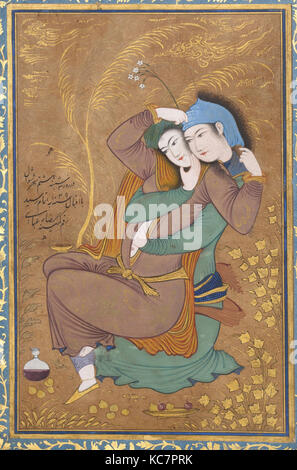The Lovers, Painting by Riza-yi `Abbasi, dated A.H. 1039/ A.D. 1630 - Stock Photo