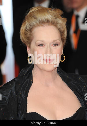 LONDON, ENGLAND - FEBRUARY 12:  Meryl Streep seen at the press room at Orange British Academy Film Awards 2012 at - Stock Photo