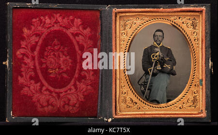 Union Cavalry Officer Displaying Sword, Holding Hat, Seated in Studio, Unknown, 1861–65 - Stock Photo