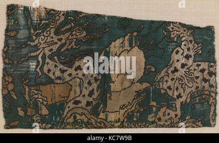 Textile Fragment, mid-16th century, Attributed to Iran, Silk and metal-wrapped yarns; compound weave, Textile: H. - Stock Photo