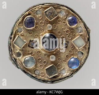 Disk Brooch, late 6th–early 7th century, Frankish, Gold, copper alloy, iron pin, glass paste, glass paste cabochons, - Stock Photo
